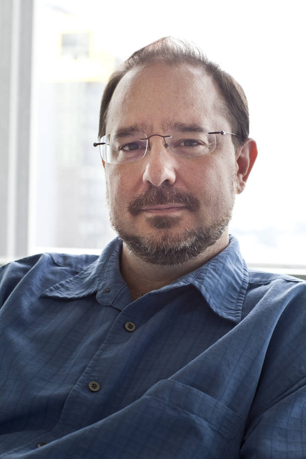 "Author John Scalzi, whose work includes the Hugo winner, ""Redshirts,"" in New York."
